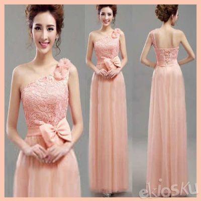 802152 Long Dress Wanita Gaya Korea Elegant