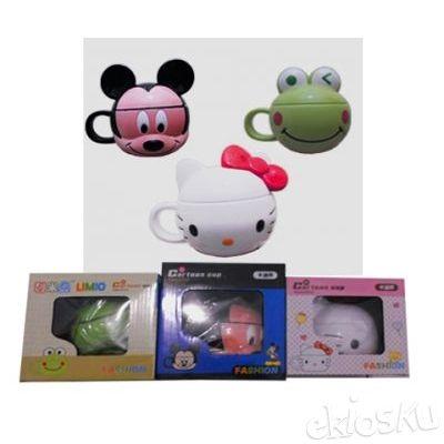 Gelas Minum Mug Wajah Karakter Melamin Motif Helo Kitty Keropi Mickey