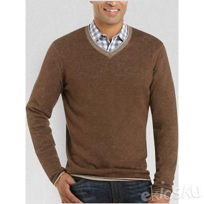 Sweater Rajut Katun V Neck Collar Choco 4 ukuran