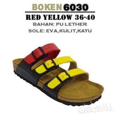 Cork Sandal/Sendal Wanita Super Comfortable & Healthy Merek BOKEN 6030 Yellow Red