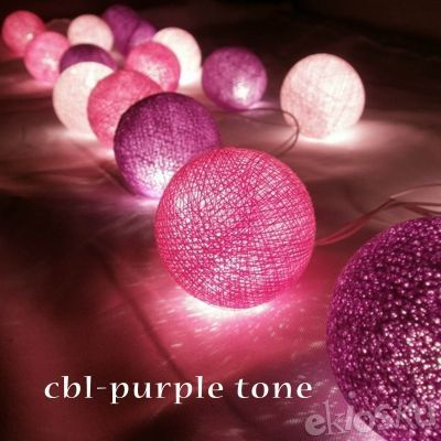 Lampu Natal LED Cotton Ball Light Purple TOne