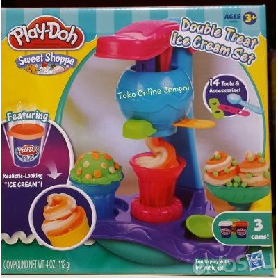 Cetakan Playdoh Sweet Shoppe Double Treat Ice Cream Set 14 tools