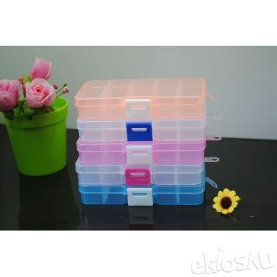(5x2)Kotak Plastik WARNA Transparant obat perhiasan cincin akik kalung