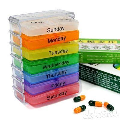 Kotak Obat Mingguan dengan label hari ditiap kotak 4 sekat tiap kotak