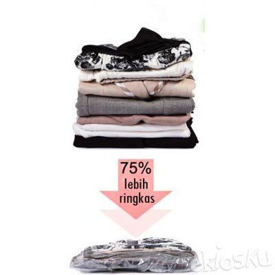 Vakum / Vacum Travel Bag Vacuum Wadah Pakaian Baju Boneka Bed Cover