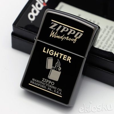 ZIPPO ORIGINAL 28535 Ebony Windprof Black High Polish Madein USA | Stok LENGKAP Garansi Resmi