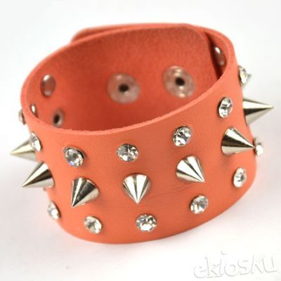 Fashion punk metal drill orange bracelet