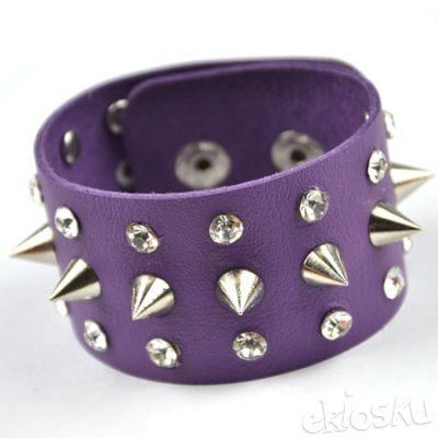 Fashion punk metal drill purple bracelet