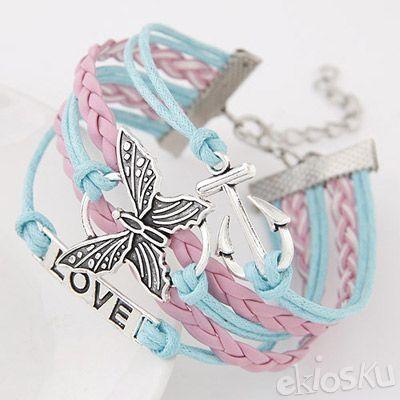 Retro Multicolor Metal Butterfly Bracelet