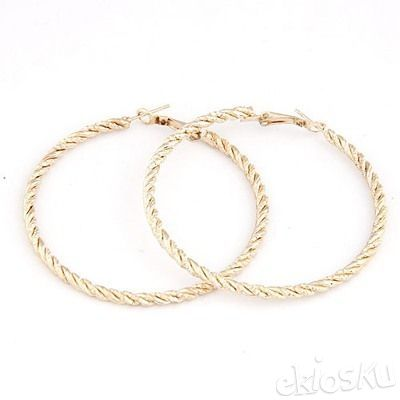 Homecoming Gold Color Circle Simple Earrings