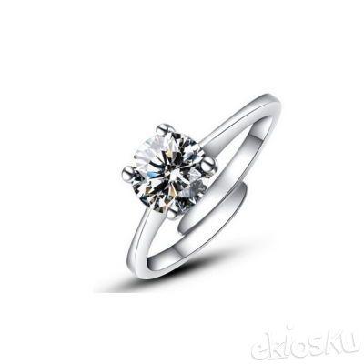 Silver Crystal Cubic Zirconia Anel Feminino ring