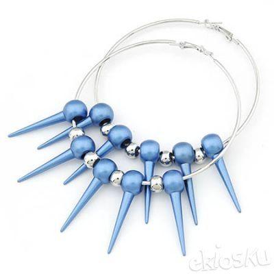 Fashion blue rivet big earrings