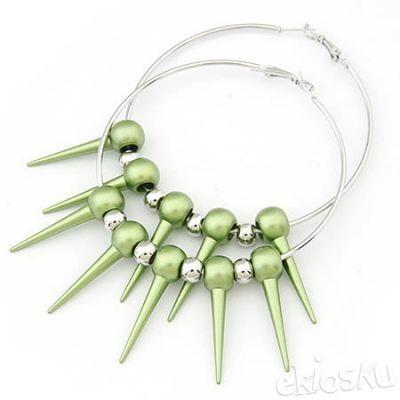 Fashion green rivet big earrings