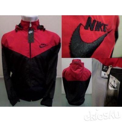 Jaket Parasut NIKE Merah Hitam