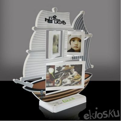 Plastic Photo Frame 7284B Happiness Ship White