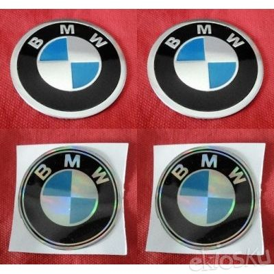 Sticker Emblem BMW Aluminium & Rubber.(7cm).(4 pcs)