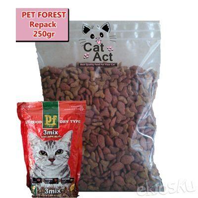 Makanan Kucing Murah Pet Forest 3 Mix - Repack 250 gram