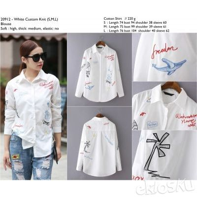 COTTON SHIRT WHITE CUSTOM KNIT BLOUSE 20912