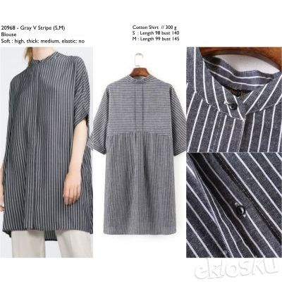 COTTON SHIRT GRAY V STRIPE BLOUSE 20968