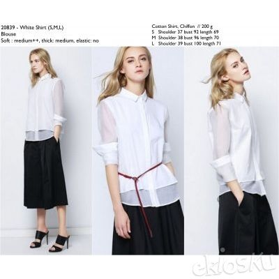 COTTON CHIFFON WHITE SHIRT BLOUSE 20839