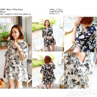 CHIFFON BLACK & WHITE ROSES BLOUSE 20287