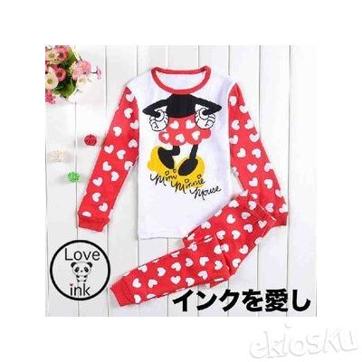 STKD182 - Setelan Anak Piyama Minnie Mouse Red Love Dot
