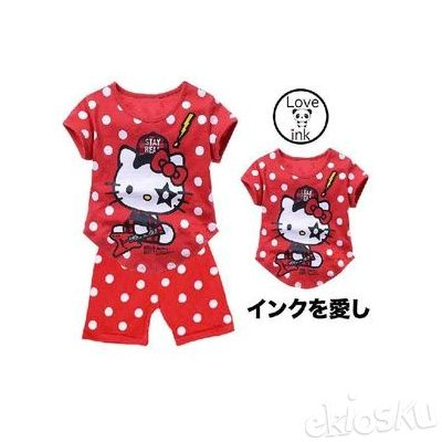 STKDHK93 - Setelan Anak Hello Kitty Rock Star Red
