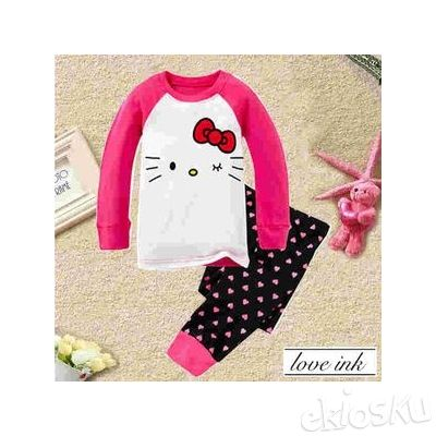 STKDHK109 - Setelan Anak Hello Kitty Red Ribbon Dot Love
