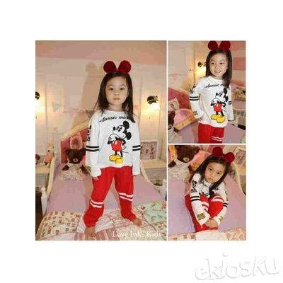 STKD219 - Setelan Panjang Anak Mickey Classic White Red