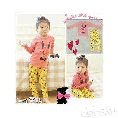 STKD97 - Setelan Anak Bunny Pink Yellow Star