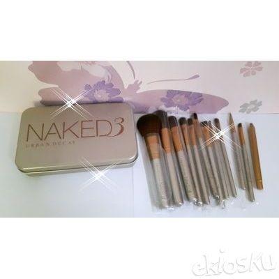 kuas make up naked 3, kuas set naked 3 , brushes set naked 3isi 12 bahan bulu sintetis model box kaleng