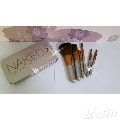 kuas make up naked 5 mini, kuas set naked 5 mini , brushes set naked 5 mini isi 7 bahan bulu sintetis