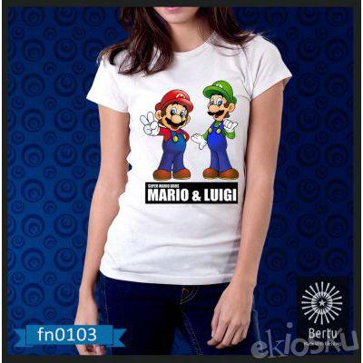 Kaos Wanita Super Mario And Luigi Kode : FN0103