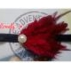 headband baby red feather