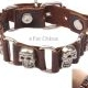 Skull Leather Alloy Bracelet (Brown)